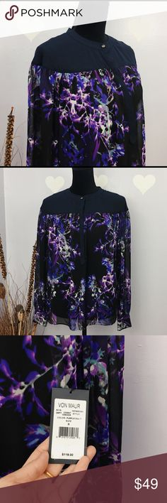 Adrianne Papell Sheer Floral Print Top Blouse There is no material label. Feels like polyester. This is brand new with tag. Retail for $119 Button up sheer blouse.  Size label is S, fits more to S/M.   Please refer to measurements below, its taken flat: Armpit across: approx 19 Sleeve: 22 Length: 25   Be thankful and be a cute panda🐼 Stock BA Adrianna Papell Tops Blouses