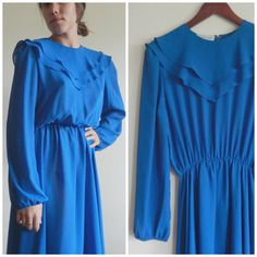 70s Vintage Periwinkle Blue Sheer Long by DizzyDreamerVintage
