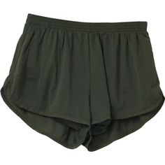80s Vintage Soffe Shorts: 80s -Soffe- Unisex olive nylon running... (€18) ❤ liked on Polyvore featuring shorts, bottoms, pants, short, green camo shorts, olive green shorts, stretch waist shorts, short shorts and vintage shorts