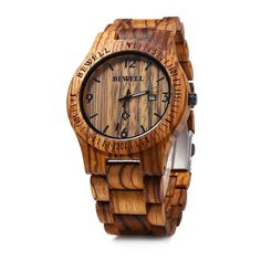 This Wood Calendar Quartz Wrist Watch adopts the natural solid wood material offering you a wholenew experience.Made fromSandalwood Features a calendar in the display Includes an ebony maple wood watch case, strap, back cover and resin mirror Folding clasp makes it easy totake on and off Water resistant Dial measures4.4cm (Diameter) x 1.2cm (Thickness) Band widthmeasures2.5 cm