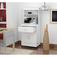 Inval America 2 Door Storage Cabinet with Microwave Cart Laricina White Furniture, Kitchen Cabinet Storage, Home, Small Kitchen Storage, Small Appliances, Appliances Storage, Portable Kitchen, Microwave Storage, Microwave Cart