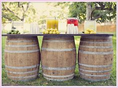 Wine Barrel Bar- great idea for outdoor party. Wine Barrel Wedding, Wine Barrel Table, Wine Barrels, Barrel Bar, Bourbon Barrel, Outdoor Parties, Outdoor Entertaining, Outdoor Weddings, Outdoor Ceremony