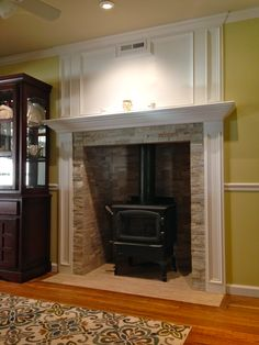 Wood Stove, mantle, dining room