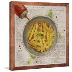 Historical French Fries' Canvas with Reclaimed Douglas Fir Frame