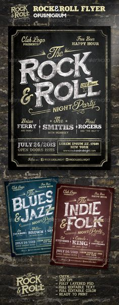 Rock & Roll Flyer  #GraphicRiver         ROCK & ROLL FLYER Special design to promote parties Rock, Blues, Jazz, Indie, Folk, Pop, Dance or any Music Festival. With a retro big impact and quality.