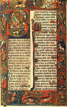 Peterborough Psalter, Opening of Psalm 1,14th century. Bibliothéque Royal, Brussels, Belgium