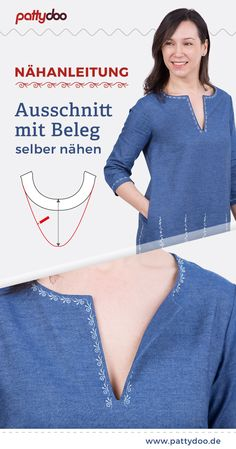 Sew cutout with slip - sewing instructions - If you want to upgrade your favorite blouses or summer dresses with an elegant slit or a V-neck, th - Sewing Hacks, Sewing Tutorials, Sewing Tips, Dress Patterns, Sewing Patterns, Couture Invisible, Sewing Shirts, Belted Shirt Dress, Free Sewing