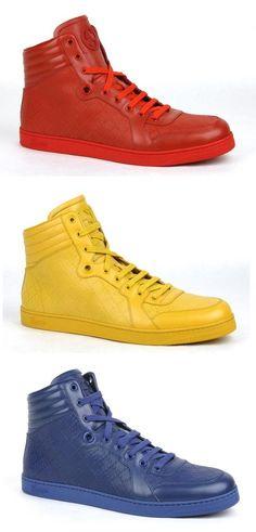 New Gucci Mens Diamante Leather High-top Sneaker w/Interlocking G Detail 355645 #Gucci #FashionSneakers
