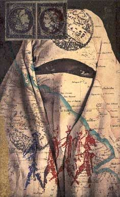 Collage by Nick Bantock inspired by North African postcard art, I beleive . . .