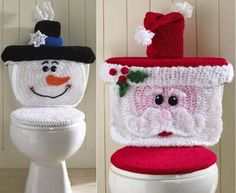 You'll love this super cute Crochet Santa Toilet Seat Cover Pattern and we have the Crochet Snowman Seat Cover Pattern too. Crochet Santa, Crochet Snowman, Crochet Diy, Christmas Crochet Patterns, Holiday Crochet, Crochet Snowflakes, Crochet Home, Crochet Gifts, Crochet Ideas