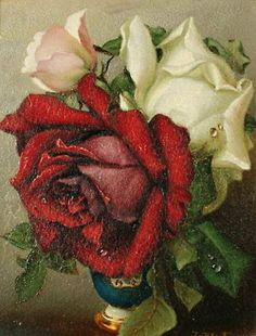 oil painting of red, pale pink and white roses in china vase...love...