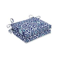 Shop for Pillow Perfect Outdoor/ Indoor New Damask Marine Squared Corners Seat Cushion (Set of 2). Get free delivery at Overstock.com - Your Online Garden