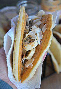 Peanut Butter & Honey Pancake Tacos with Banana,  Coconut & Chia Seeds | www.mountainmamacooks.com