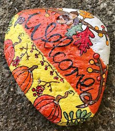 Fall Seasonal Welcome Stone Painted Rock Garden Stone