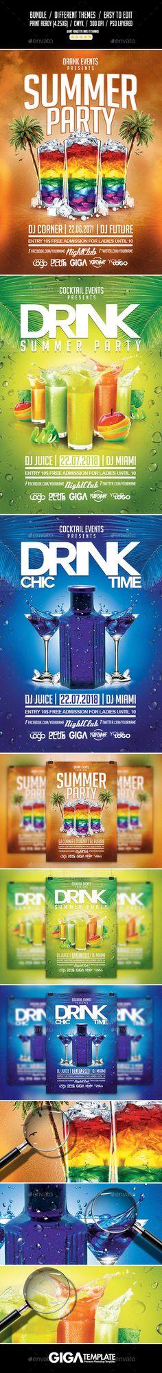 Drink Summer Bundle | 3 Flyer Template #design #flyertemplste Download: http://graphicriver.net/item/drink-summer-bundle-3-flyer-templates/12521801?ref=ksioks