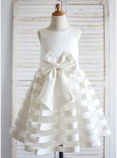 Forme Princesse Longueur mollet Robes à Fleurs pour Filles - Satiné Sans manches Col rond