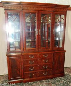 GORGEOUS Flame Mahogany Breakfront China Cabinet, Hutch With Carving,Lights