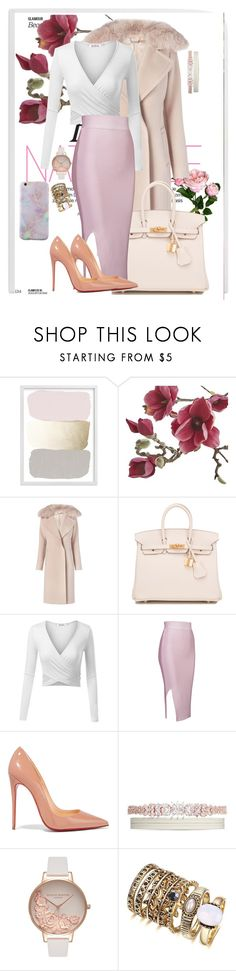 """""""The Pink"""" by agathastyles ❤ liked on Polyvore featuring Crate and Barrel, Diane Von Furstenberg, Hermès, Christian Louboutin, Fallon, Olivia Burton, harrystyles, hermes, Louboutin and oliviaburton"""