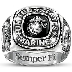 Rings for men - USMC Semper Fi Personalized Stainless Steel Men's Ring – Rings for men Best Men's Jewelry, Jewelry Rings, Fine Jewelry, Chain Jewelry, Jewelry Ideas, Unique Jewelry, Marine Corps Rings, Camo Rings, Commitment Rings