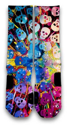 Psycho Skulls Nike Custom Elite Socks. A clash of massive forces creating an explosion of colors forcing the Psycho skulls to scatter in all directions.  A tangle of colorful lines covered with grinning skulls with hints of stars.