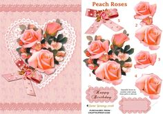 Peach Roses on Lace on Craftsuprint designed by June Young - A bouquet of Peach…