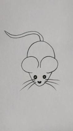 Easy Cartoon Drawings, Cute Easy Drawings, Cute Little Drawings, Art Drawings For Kids, Art Drawings Sketches Simple, Disney Pencil Drawings, Easy Animal Drawings, Hand Art Kids, Kids Art Galleries