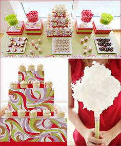 Gorgeous Pucci Inspired Dessert Bar #birthday #party #candy #theme #dessert  #decoration #buffet #pucci #color #pink #green #white #red