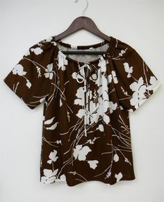 Vintage Shirt Brown White Bold Floral by PinkCheetahVintage, $28.00