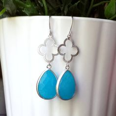 Silver Clover Earrings with Bright Blue Jade by TheCoralDahlia, $20.00