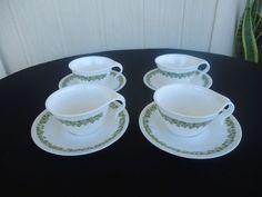 4 vintage retro corelle crazy daisy green tea cups and saucers tea set teaset