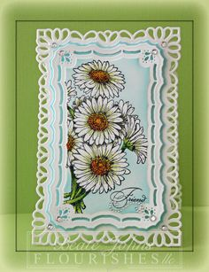 Clean and simple Daisy card made with @Spellbinders dies, @Flourishes,llc Jan Marie stamps and @Want2Scrap Company.    Click on image for blog post with more details.