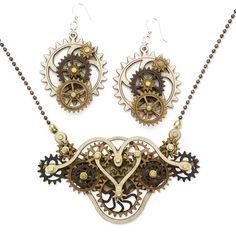 Kinetic Gear Earrings Necklace Set $69.99