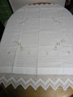 Lace アンティークイギリステーブルクロス刺繍お花レース インテリア 雑貨 家具 Antique ¥7000yen 〆06月08日