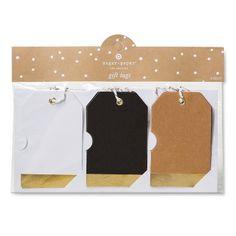Sugar Paper Luggage Tags Black/Kraft/White 10 ct