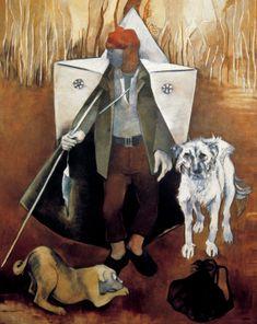 Neş'e Erdok, Çoban ve Panço, 1982 Bernard Shaw, Figure Painting, Poodle, Illustration, Fine Art, Contemporary, Abstract, Pets, Painters