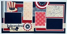 Premade 12x12 scrapbook layout Fourth of July by ohioscrapper