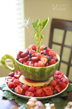Watermelon Tea Cup-How to Carve   Creative Ways to Serve Watermelon at Kids Parties