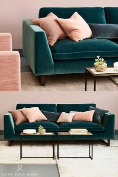 Jasper - Modern Sofa : Love Your Home – the beautiful Teal blue/green mohair velvet upholstered on our Jasper 3 seater sofa. Works perfectly with the blossom pink velvet cushions. The combination of teal and pink is on trend for 2018 interior style. Living Room Green, New Living Room, Living Room Interior, Home Decor Bedroom, Home And Living, Living Room Furniture, Entryway Decor, Bedroom Ideas, Blue Velvet Sofa Living Room