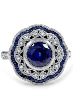 Vintage Inspired Diamond & Sapphire Halo Ring