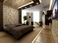 Modern Bedroom - LOVE THE OVERHEAD SPOTLIGHTS AND DESIGN!!! We can make that happen!