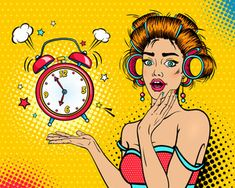 Sexy young surprised woman housewife with open mouth and hair curlers bright makeup and alarm clock ringing. Vector background in pop art retro comic style. Background Comic, Vector Background, Invitation Background, Up Imagenes, Dibujos Pin Up, Comics Vintage, Rosie The Riveter, Desenho Pop Art, Pop Art Women