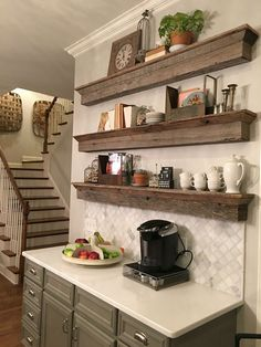 A great solution to a tradition ca… Floating Barnwood shelves – coffee bar area. A great solution to a tradition cabinet. Find me on Houzz too. Coffee Bar Home, Home Coffee Stations, Coffee Shop, Coffee Corner, Coffee Bars, Coffee Lovers, House Coffee, Coffee Maker, New Kitchen