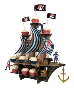 pirate ship cupcake holder stand for your favorite little pirate!