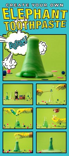 A fun, oozing, foaming and safe chemical reaction. Science Experiments Kids, Science For Kids, Science Activities, Elephant Toothpaste, Chemical Reactions, Brain Games, Create Your Own, School, Fun