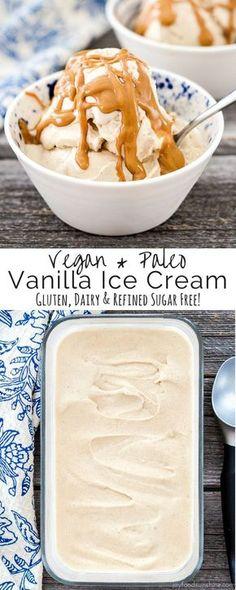 Vegan & Paleo Vanilla Ice Cream! Made with only 5 ingredients! Gluten, dairy & refined sugar free! Made in the Vitamix!