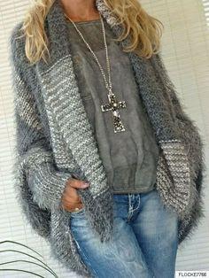 EINHEITSGRÖSSE WENDE PLÜSCH STRICKJACKE FLEDERMAUSÄRMEL JACKE OVERSIZE GRAU in Kleidung & Accessoires, Damenmode, Pullover & Strick   eBay