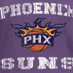 Women's Phoenix Suns 5th & Ocean by New Era Purple Tri-Blend Long Sleeve Glitter Logo Scoop Neck T-Shirt