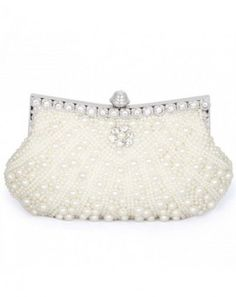 BMC Womens Pink Champagne Faux Pearl Cascading Bead Rhinestone Encrusted Evening Clutch Cocktail Party Fashion Purse *** More info could be found at the image url. White Clutch, Bridal Clutch, Beaded Bags, Purse Styles, Pink Champagne, Clutch Purse, Evening Bags, Evening Clutches, Purses And Handbags
