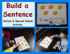 """""""I absolutely love this Build a Sentence packet! I have a 3 year old daughter with Down syndrome, and we have been working hard to get her to answer questions and link words together in sentences. My daughter really enjoys counting and selecting the color and picture cards, and then reading back the sentences. Thank you for such a great resource!"""" This is the most recent feedback to one of my resources. #BestResourceEver on /tptpins/"""