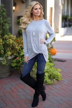 Believe It Or Knot Top - Heather Grey